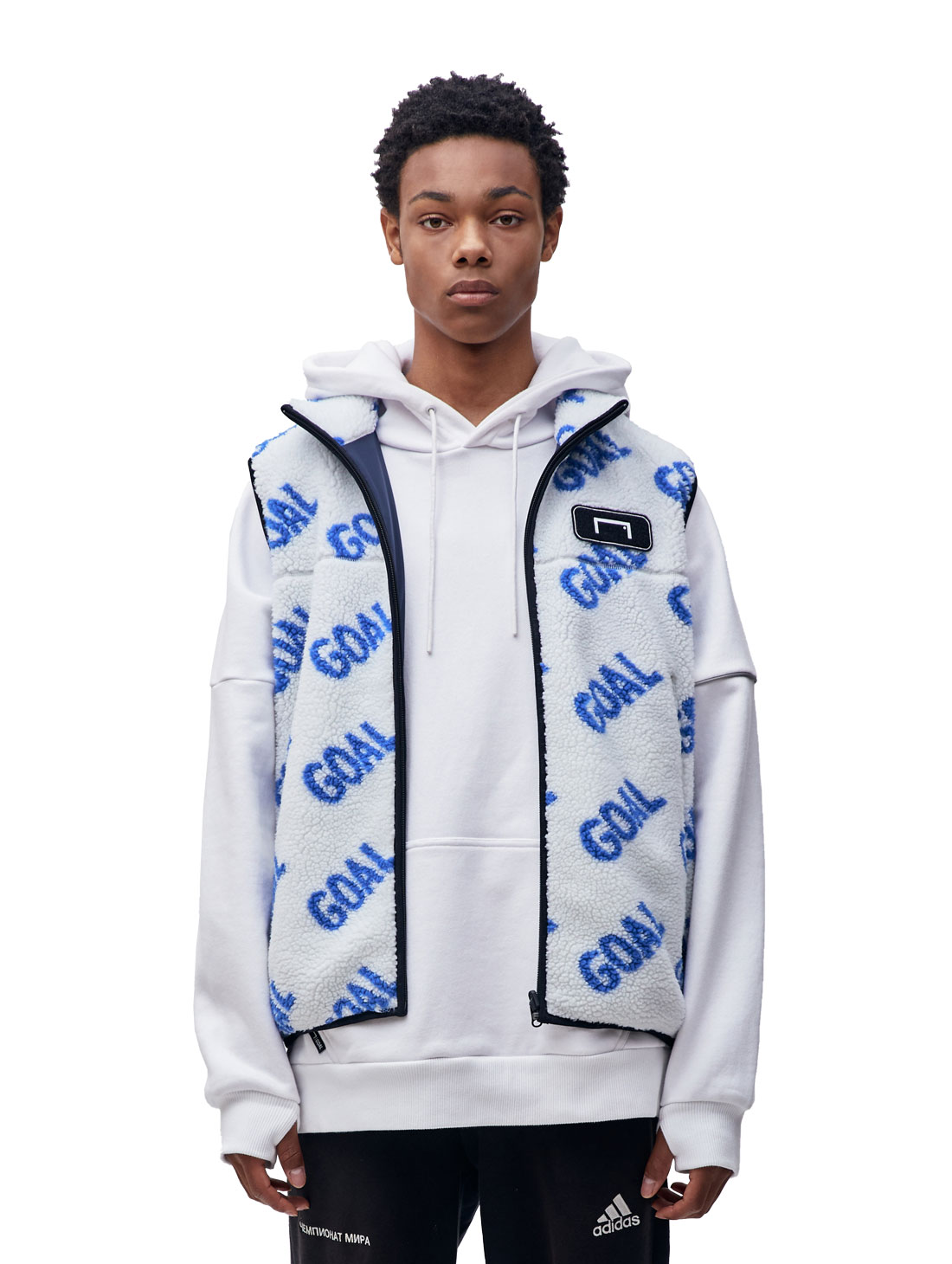 GOALSTUDIO (L,XL)REVERSIBLE FLEECE VEST - WHITE/NAVY