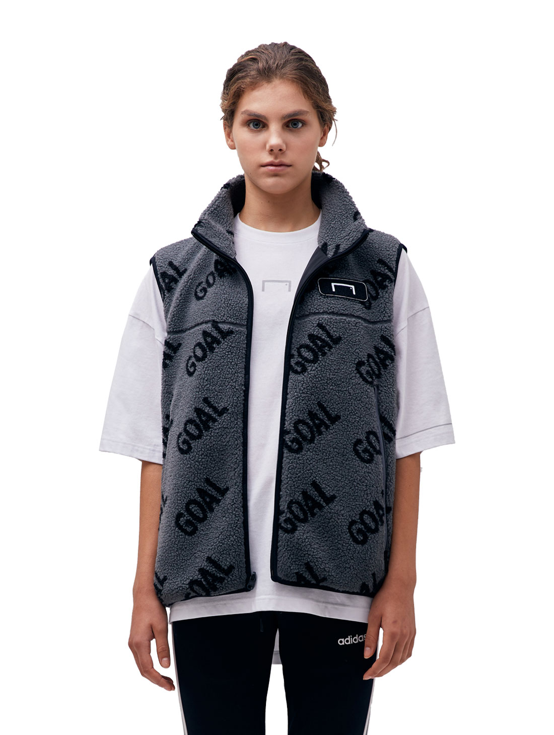 GOALSTUDIO REVERSIBLE FLEECE VEST - GREY/BLACK