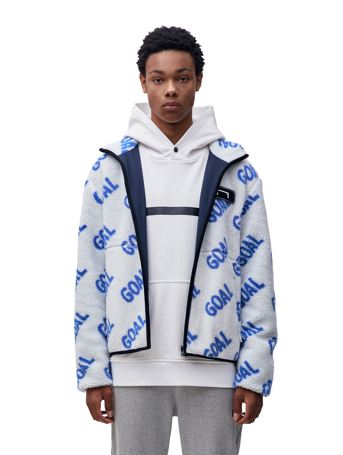 GOALSTUDIO REVERSIBLE FLEECE JACKET - WHITE/NAVY