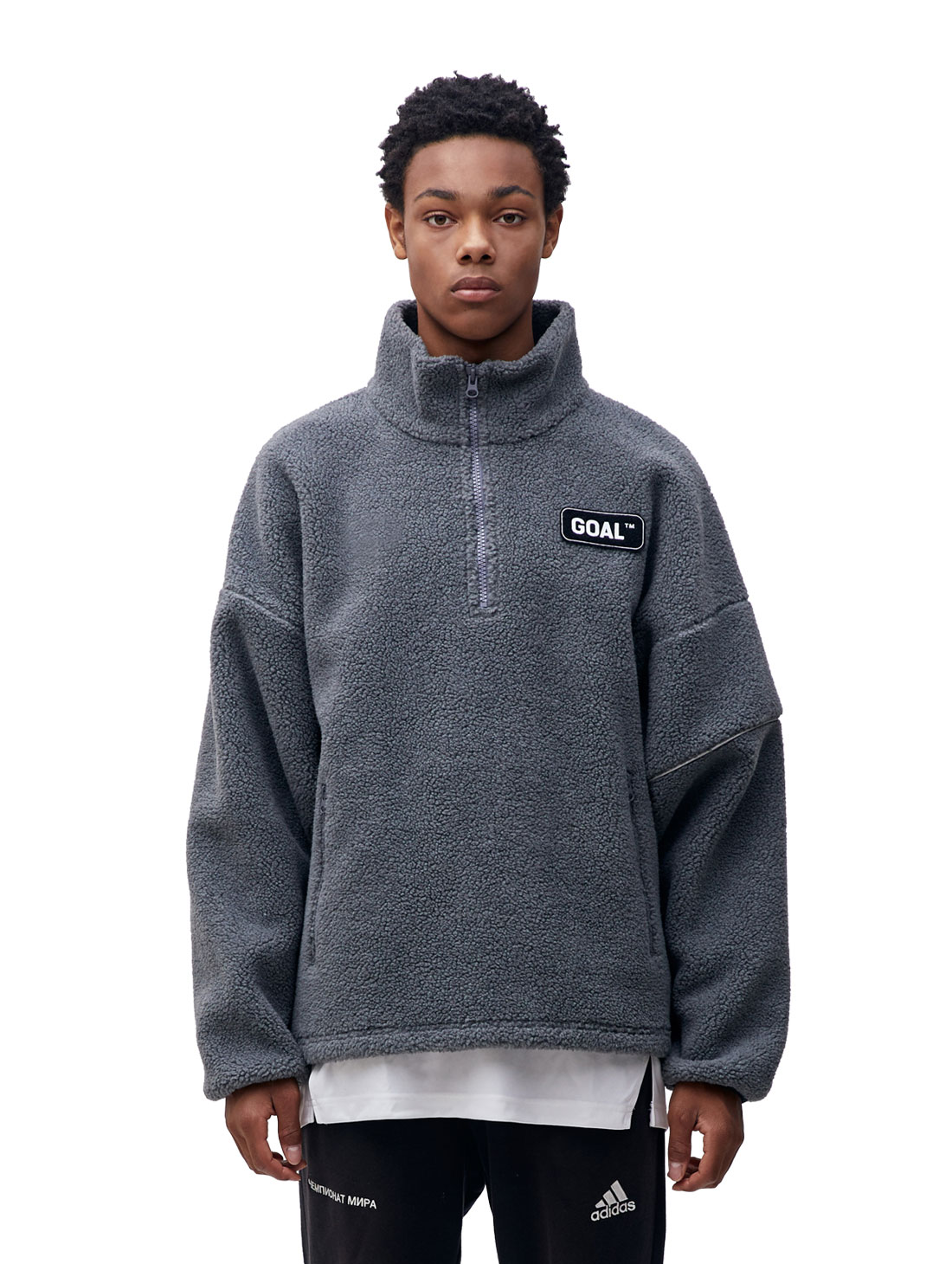 GOALSTUDIO (Sold Out) FLEECE ZIP UP PULLOVER - GREY