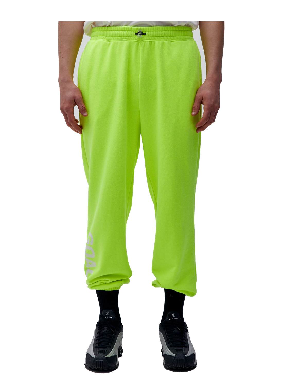 GOALSTUDIO FLOCKING KNIT JOGGER PANTS - LIME YELLOW