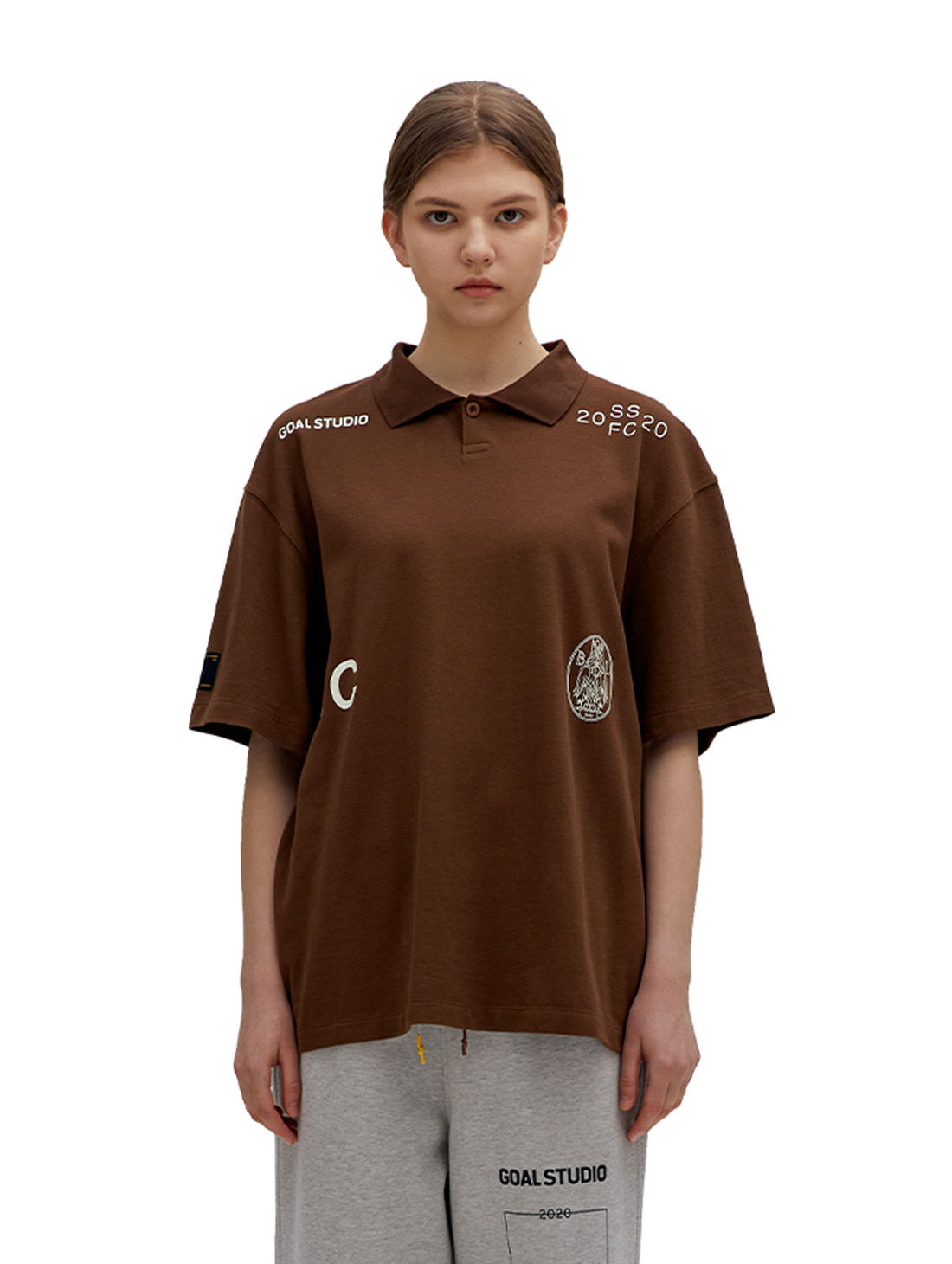 GOALSTUDIO SSFC PIQUE COLLAR SHIRT - BROWN