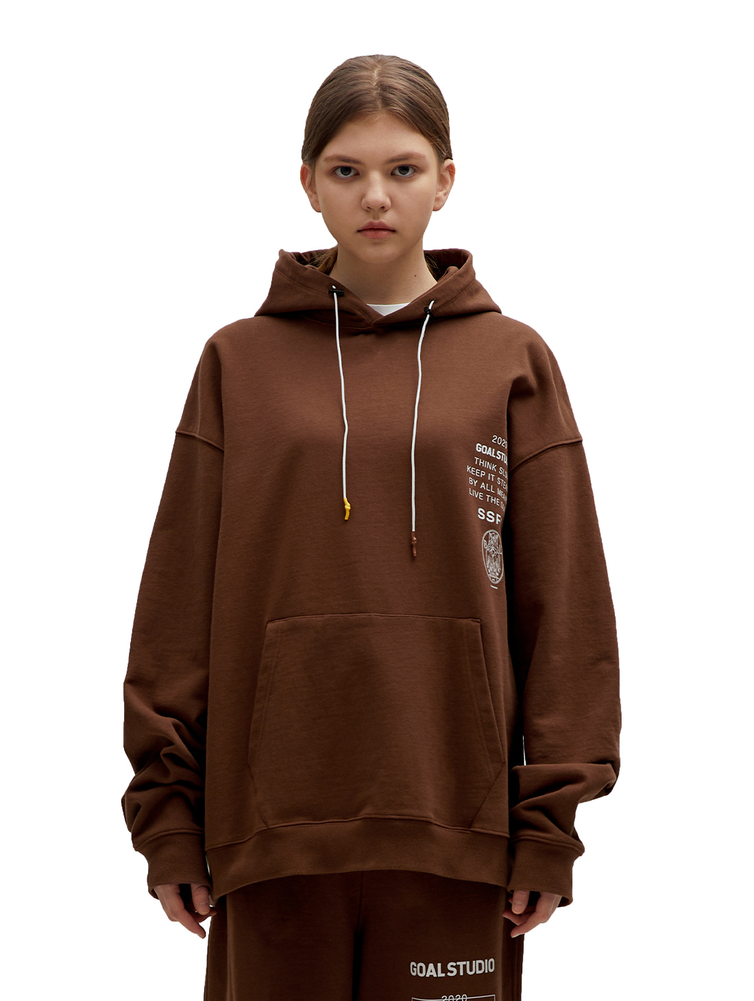 GOALSTUDIO SSFC JERSEY HOODED SWEATSHIRT - BROWN