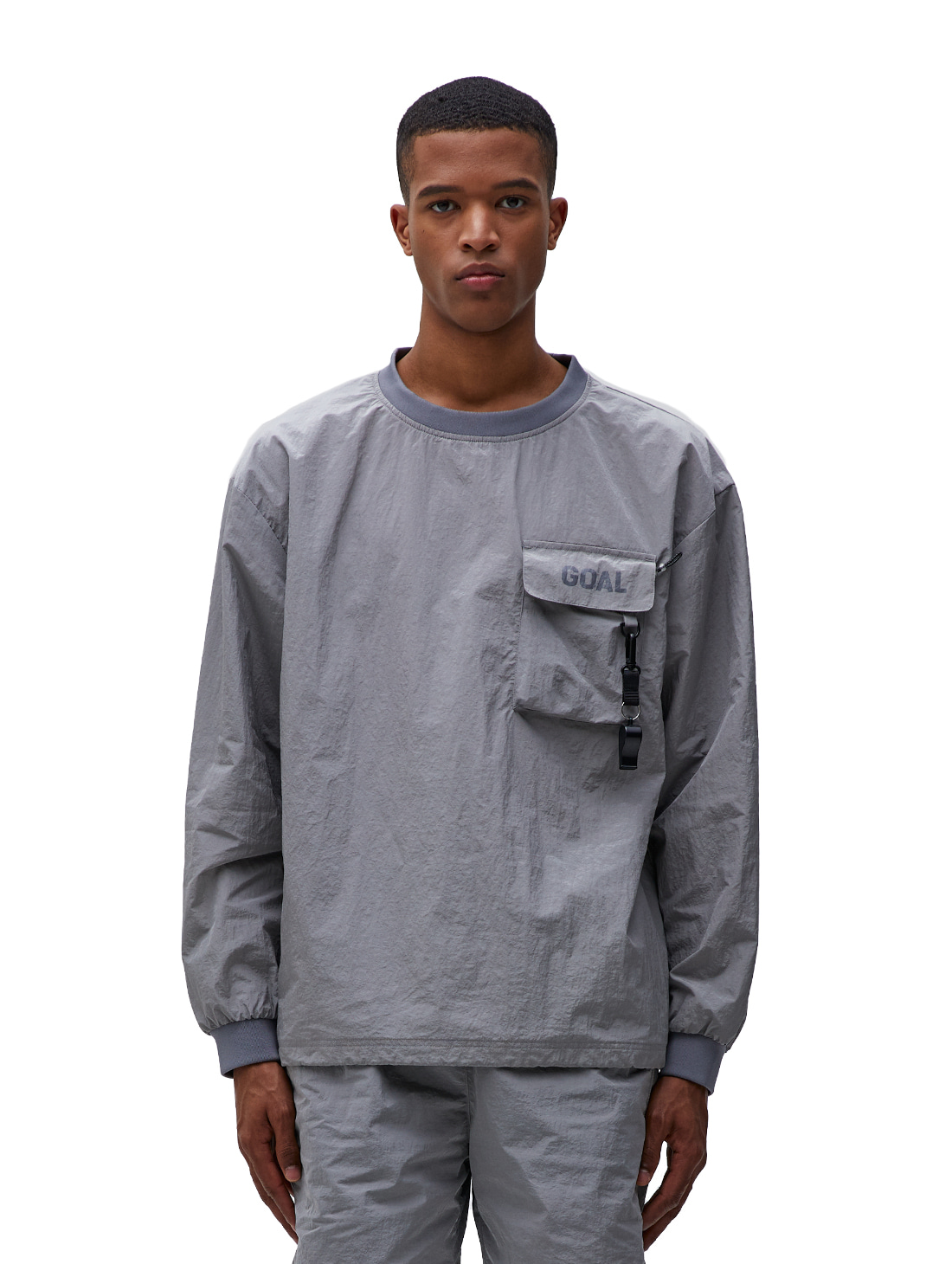 GOALSTUDIO NYLON METAL POCKET LONG SLEEVE TEE - GREY