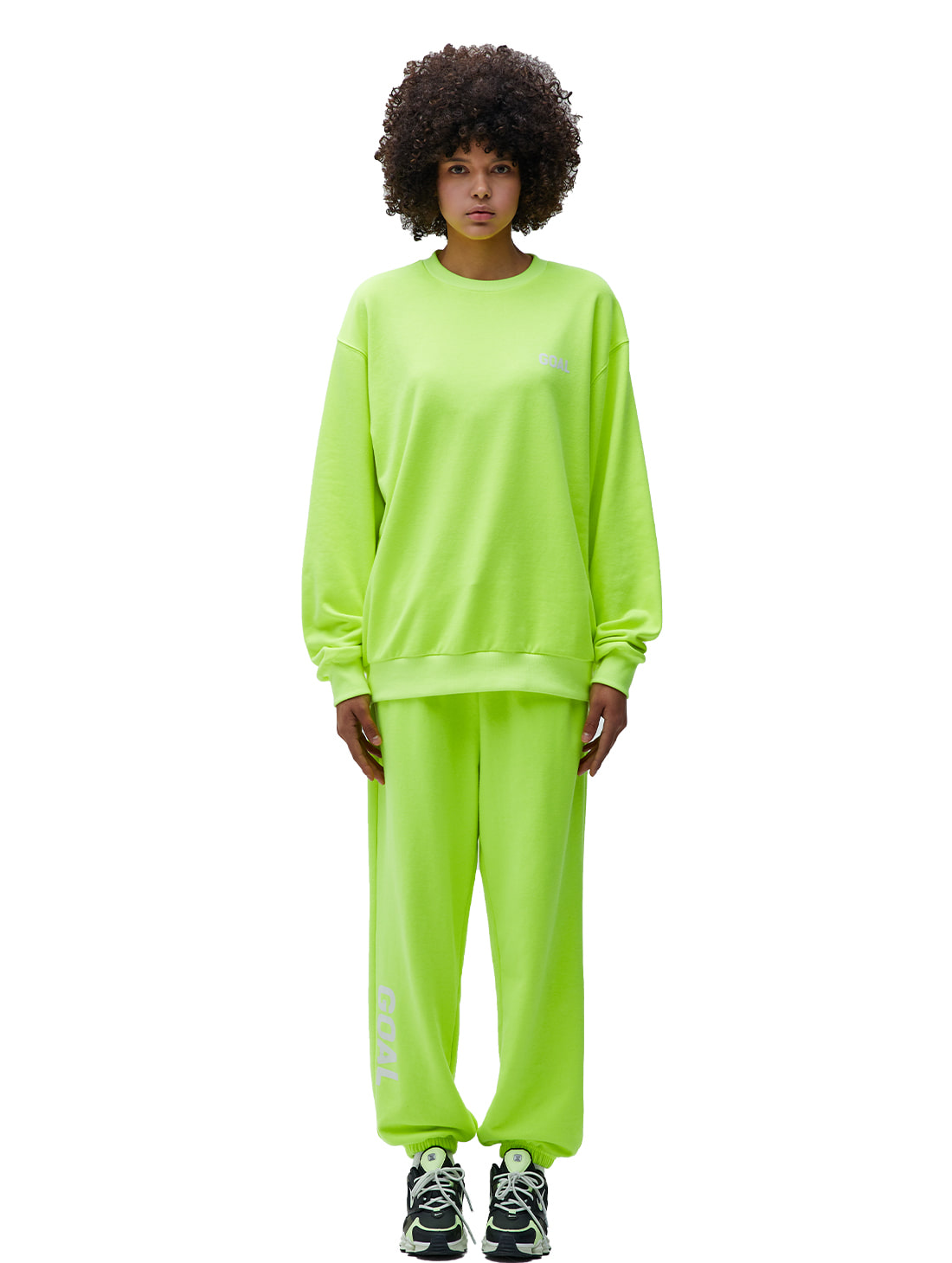GOALSTUDIO [10% OFF] FLOCKING SWEATSHIRT & PANTS SET - LIME YELLOW