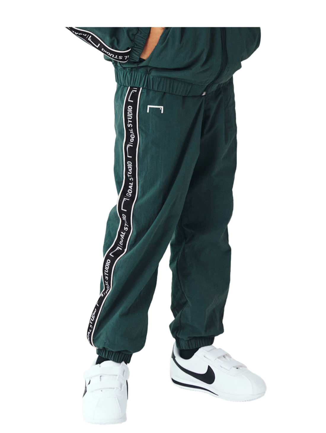 GOALSTUDIO (KIDS) SMALL LOGO TRACK PANTS - DARK GREEN