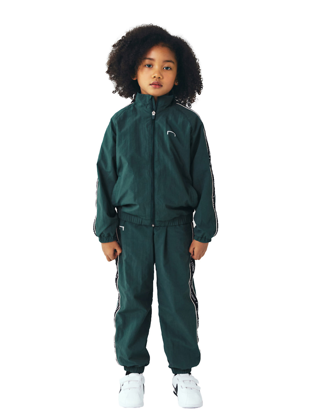 GOALSTUDIO [10% OFF] (KIDS) SMALL LOGO TRACK JACKET & PANTS SET - DARK GREEN