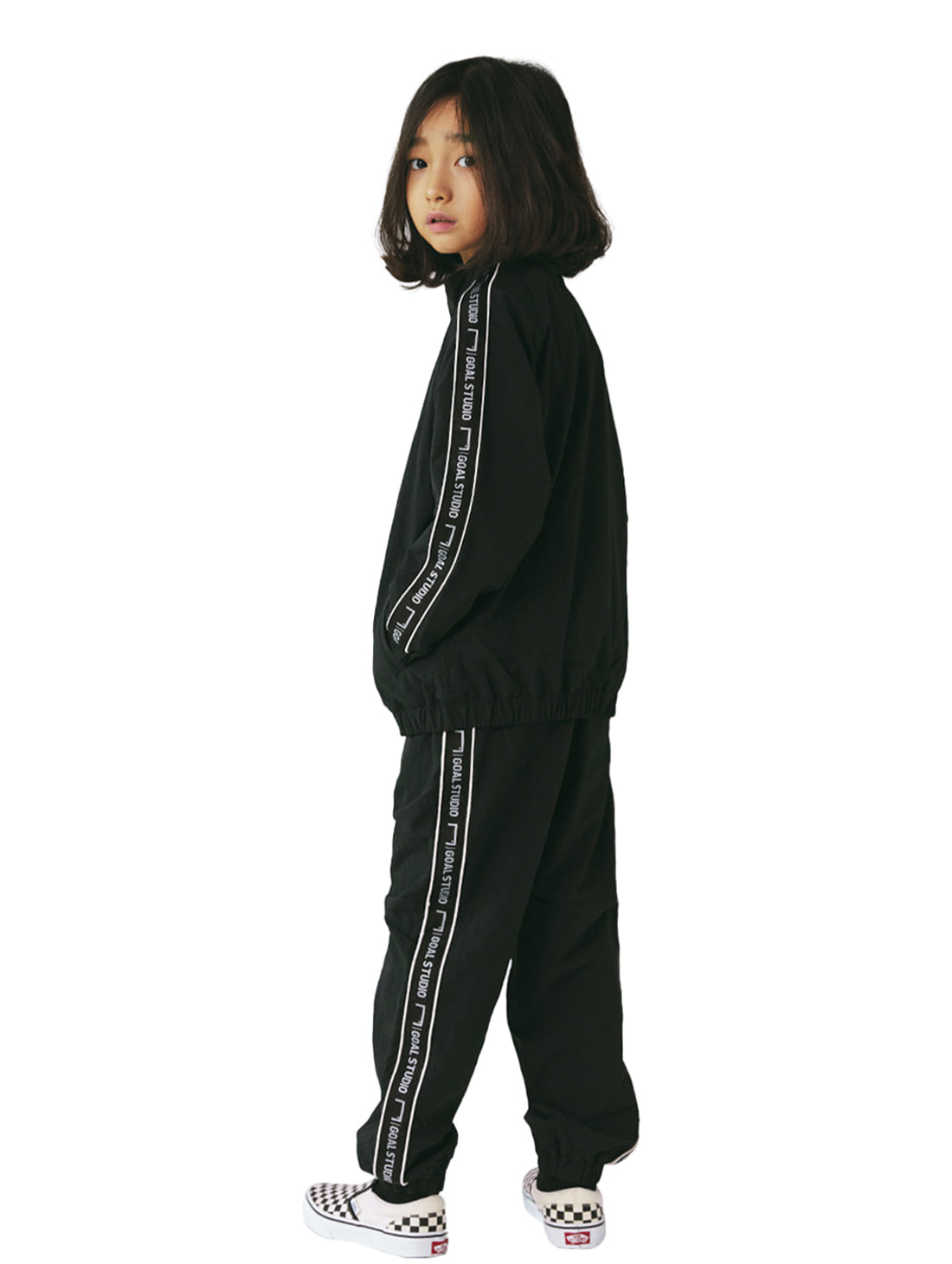 GOALSTUDIO [10% OFF] (KIDS) SMALL LOGO TRACK JACKET & PANTS SET - BLACK