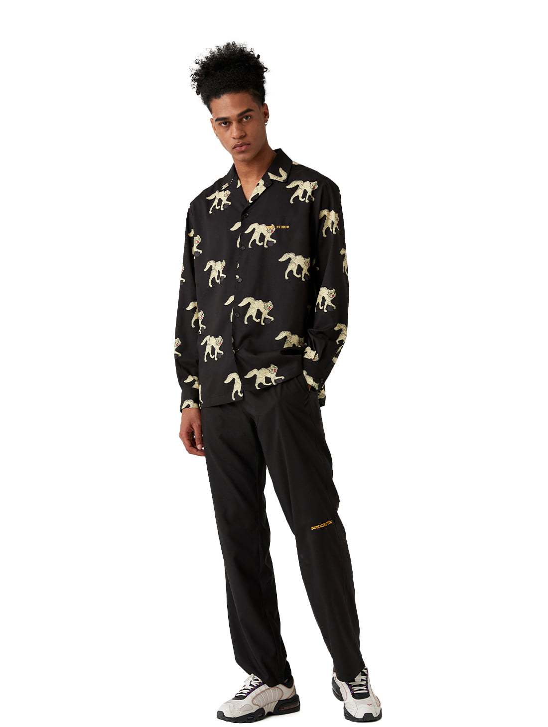 GOALSTUDIO [10% OFF] MC ALL OVER PATTERN SHIRTS & PANTS SET - BLACK