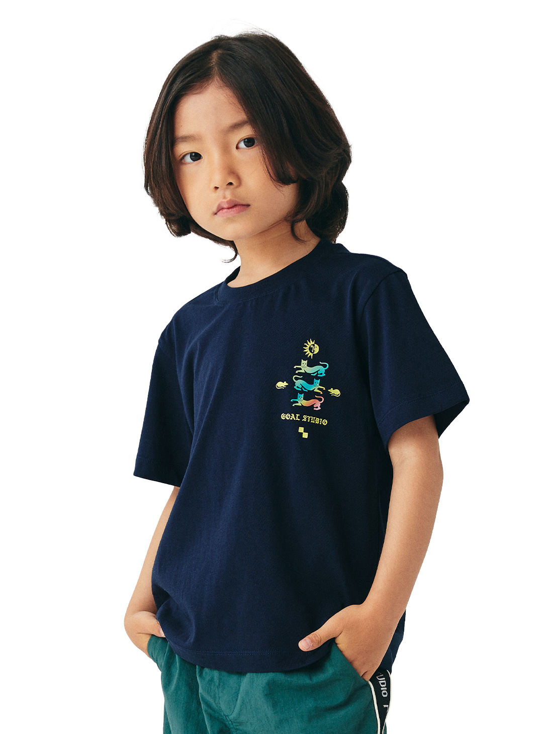 GOALSTUDIO (KIDS) MC EMBLEM GRAPHIC TEE - NAVY