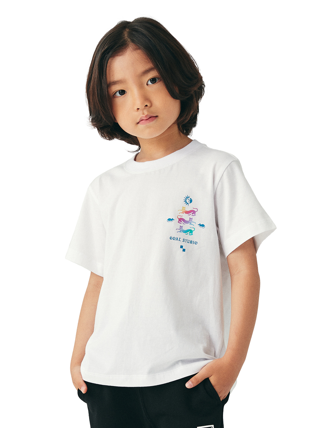 GOALSTUDIO (KIDS) MC EMBLEM GRAPHIC TEE - WHITE