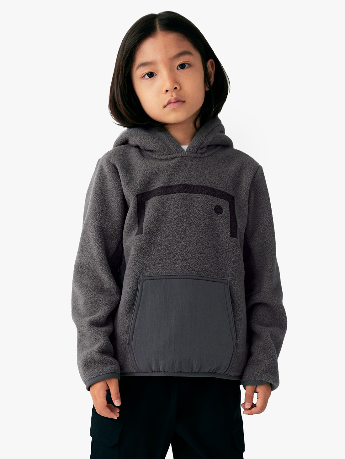 GOALSTUDIO (KIDS) NYLON METAL MIXED FLEECE HOODIE (2 Colors)