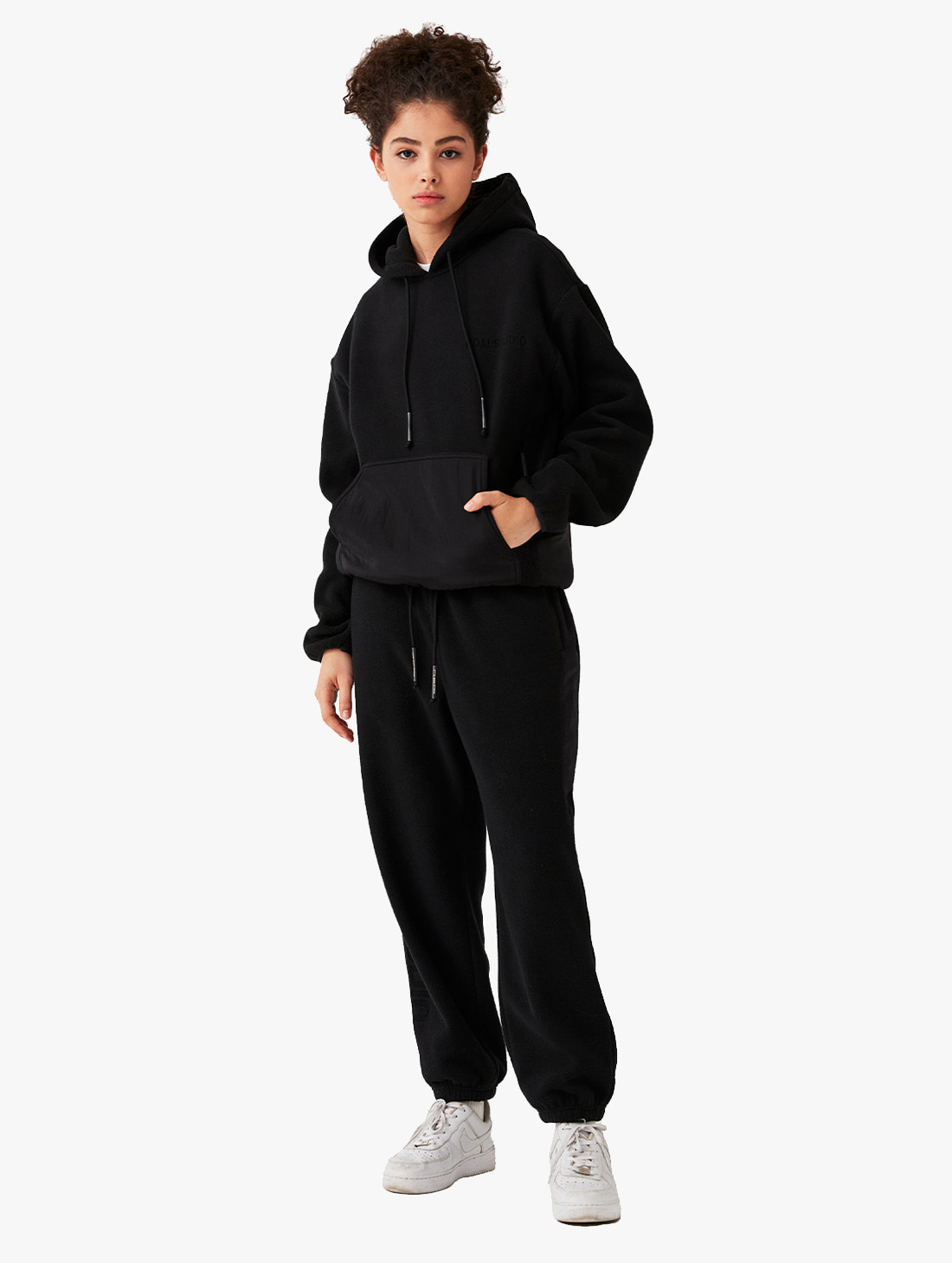 GOALSTUDIO [10% OFF] NYLON METAL MIXED FLEECE HOODIE & LONG PANTS SET