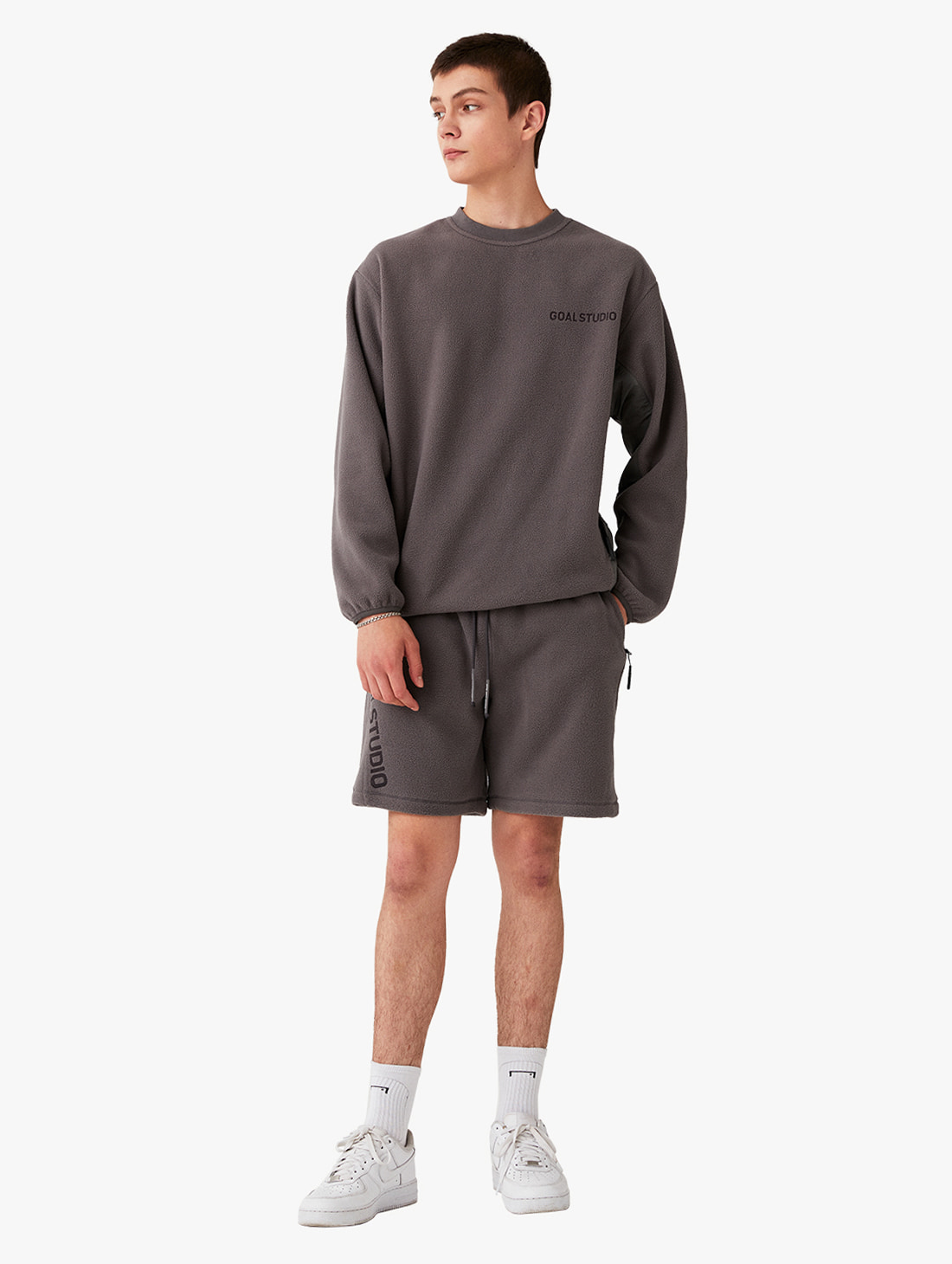 GOALSTUDIO [10% OFF] NYLON METAL MIXED FLEECE SWEATSHIRTS & SHORTS SET