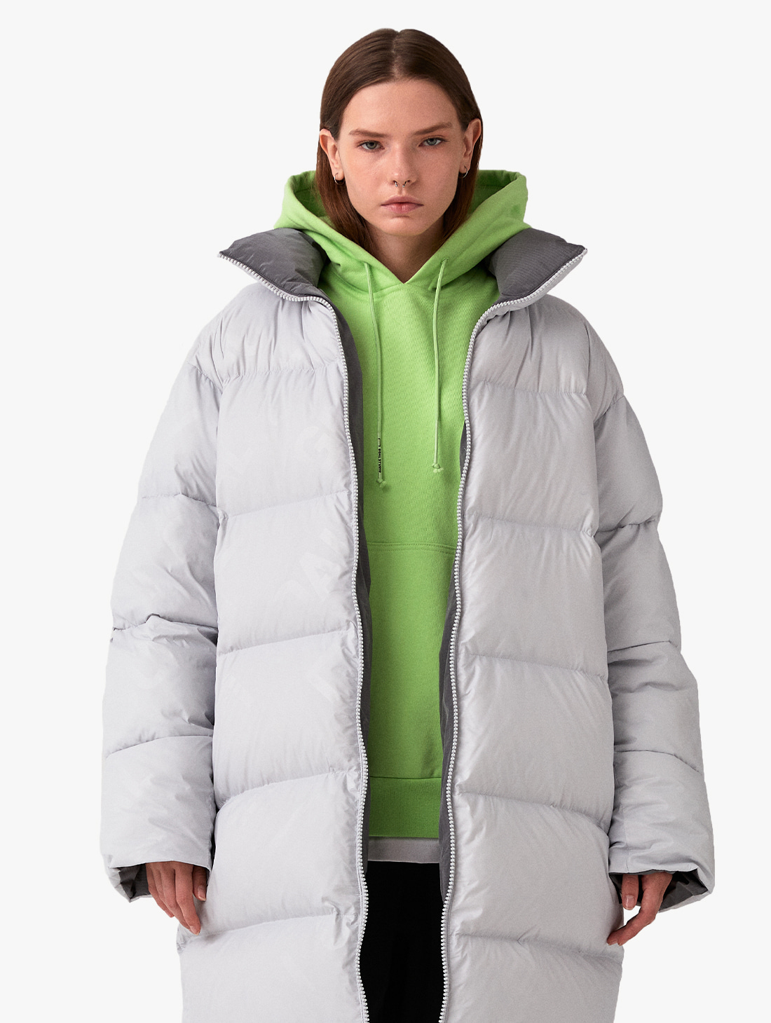 GOALSTUDIO REVERSIBLE GOOSE LONG DOWN JACKET - GREY