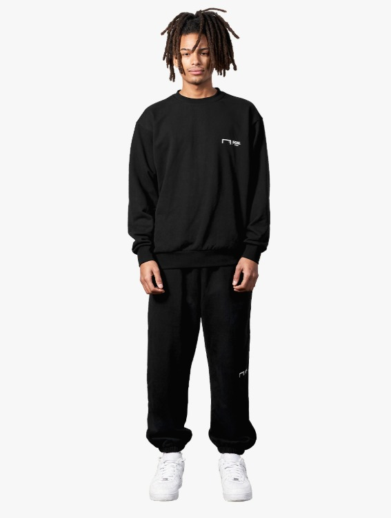 GOALSTUDIO [10% OFF] SIGNATURE LOGO SWEATSHIRT & PANTS SET - BLACK