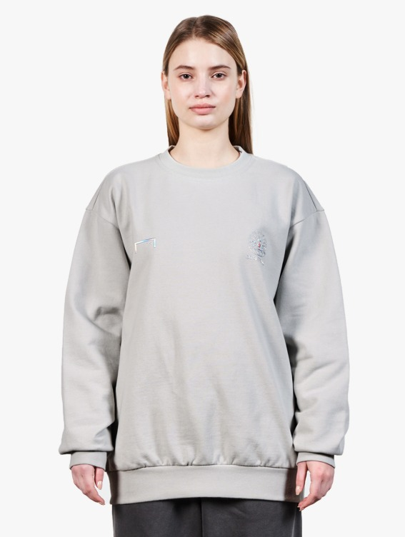 GOALSTUDIO PEARL BALL PATCH SWEATSHIRT - LIGHT GREY