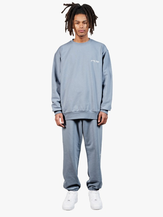 GOALSTUDIO [10% OFF] SIGNATURE LOGO SWEATSHIRT & PANTS SET - BLUE GREY