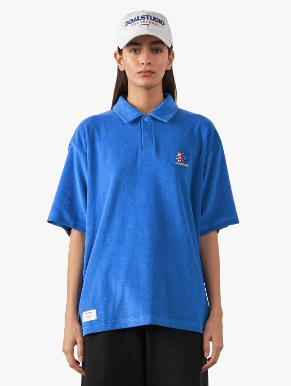 GOALSTUDIO FREE KICK CAPSULE TERRY POLO SHIRT - BLUE