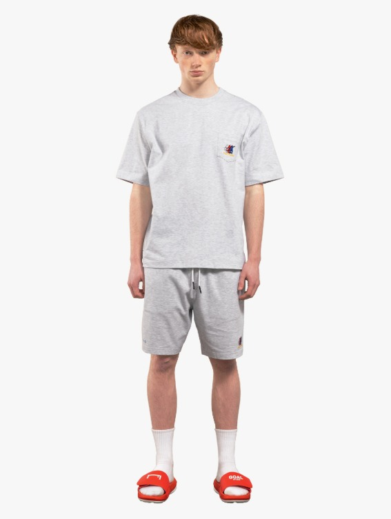 GOALSTUDIO [10% OFF] FREE KICK CAPSULE POCKET TEE & JERSEY SHORTS SET - MELANGE GREY