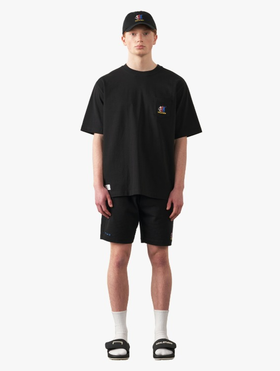 GOALSTUDIO [10% OFF] FREE KICK CAPSULE POCKET TEE & JERSEY SHORTS SET - BLACK