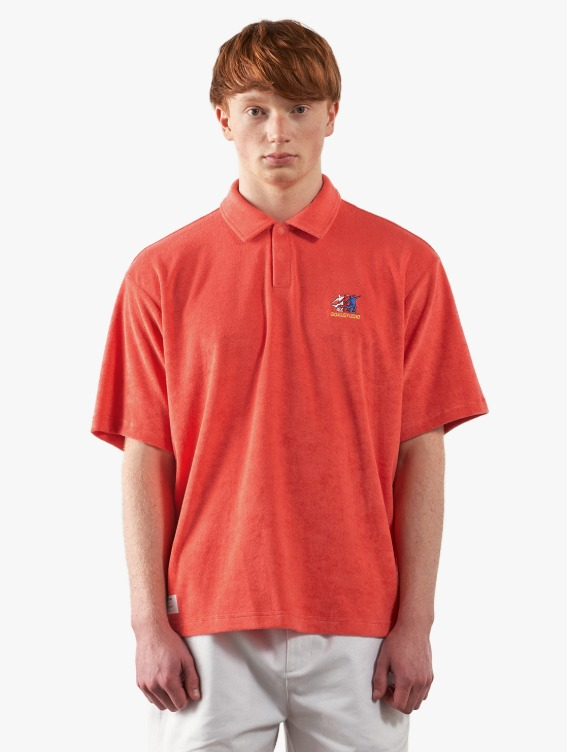 GOALSTUDIO FREE KICK CAPSULE TERRY POLO SHIRT - CORAL RED