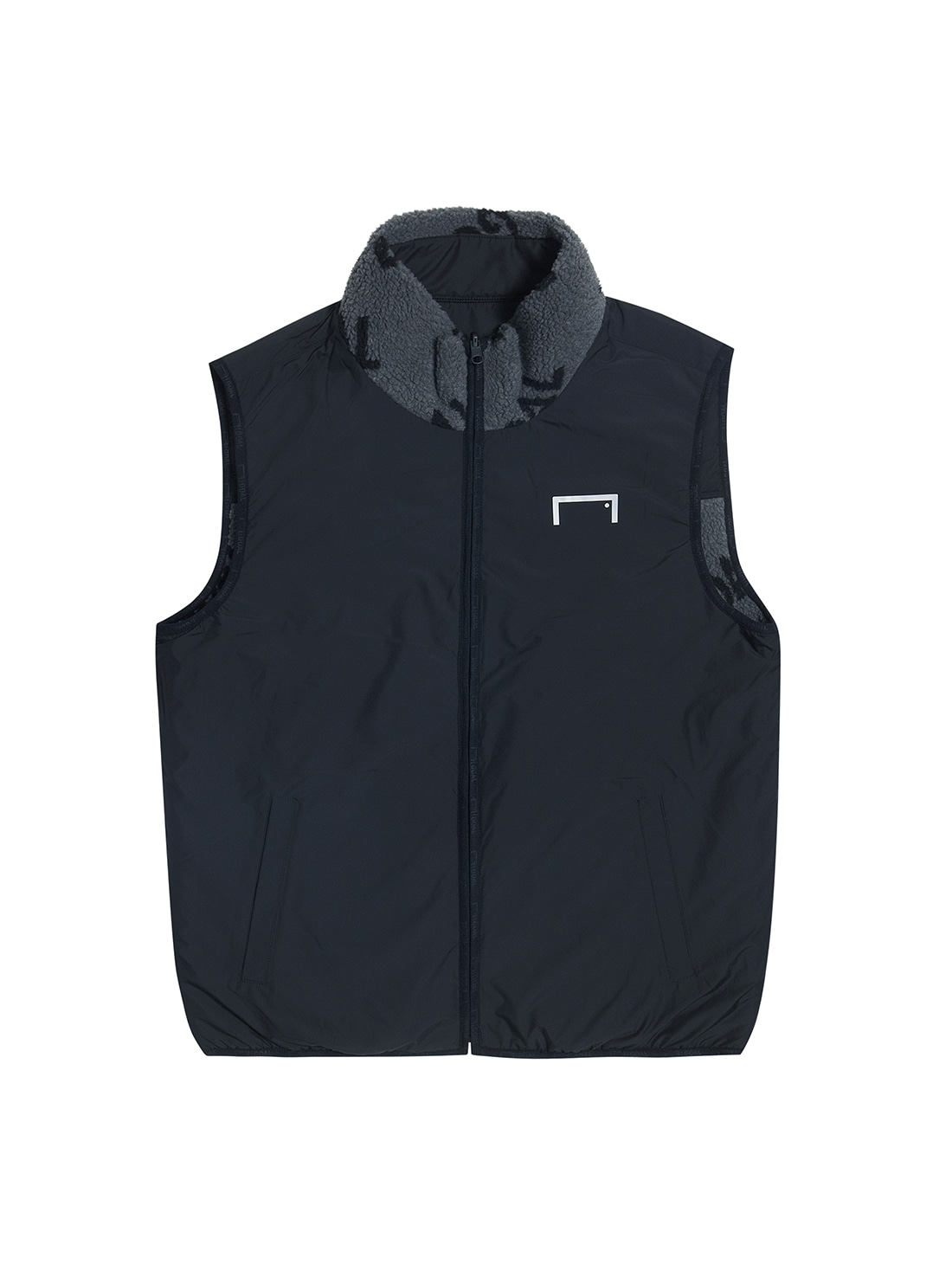GOALSTUDIO (L)REVERSIBLE FLEECE VEST - GREY/BLACK