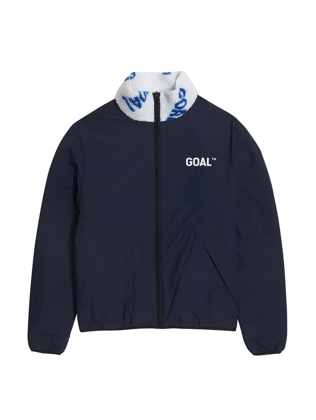 GOALSTUDIO (Sold Out) REVERSIBLE FLEECE JACKET - WHITE/NAVY