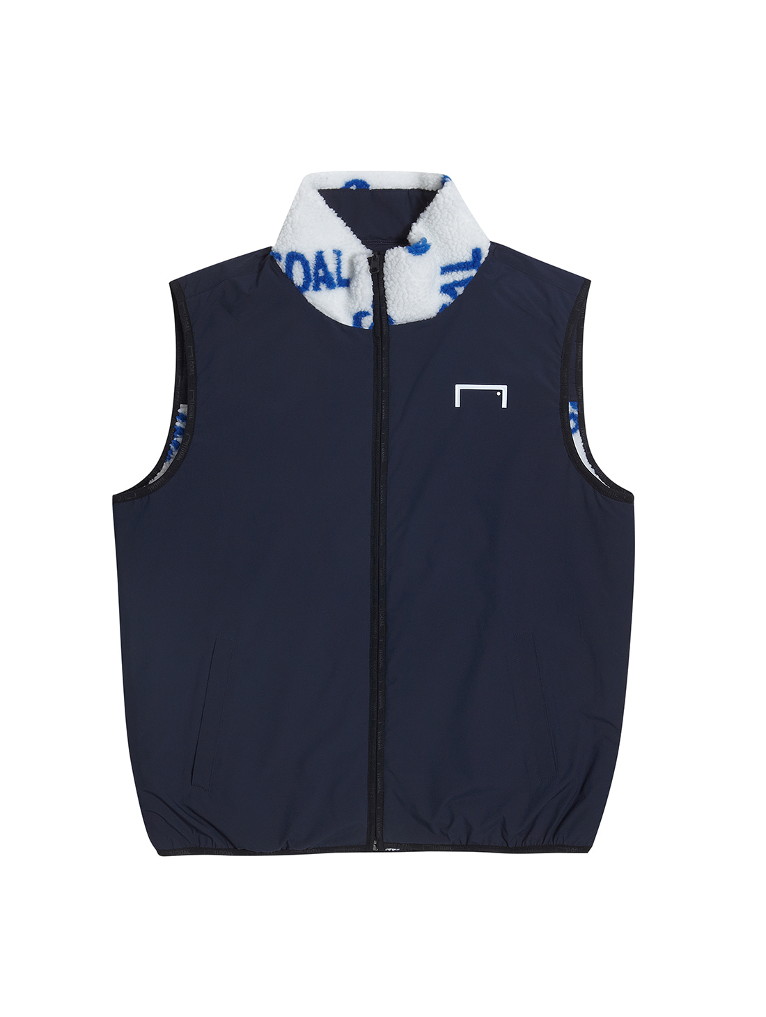 GOALSTUDIO REVERSIBLE FLEECE VEST - WHITE/NAVY