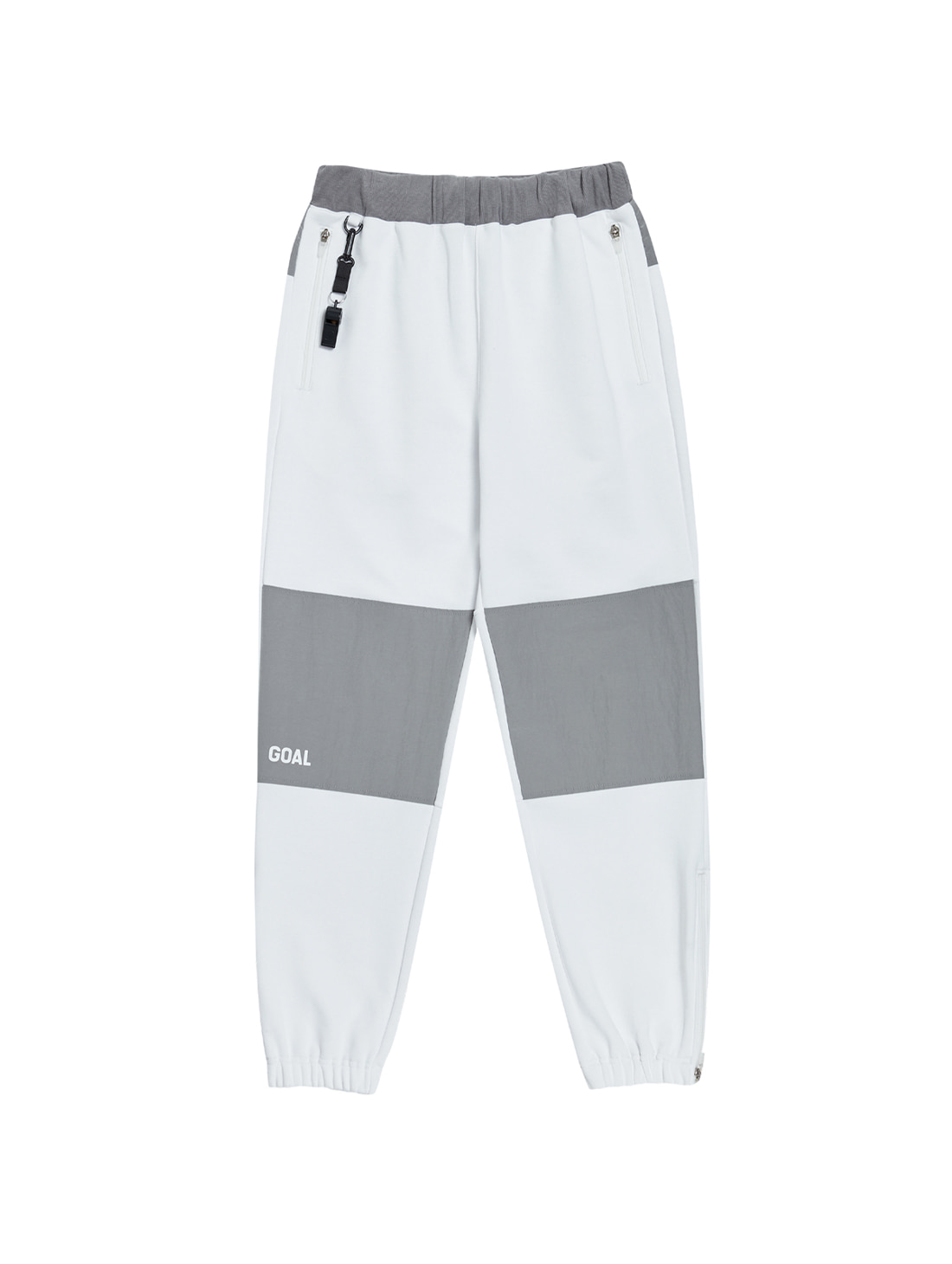 GOALSTUDIO NYLON METAL MIXED TRACK PANTS - WHITE