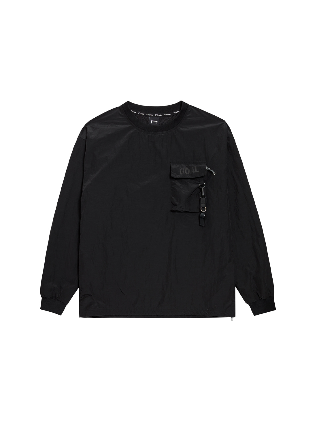 GOALSTUDIO NYLON METAL POCKET LONG SLEEVE TEE - BLACK