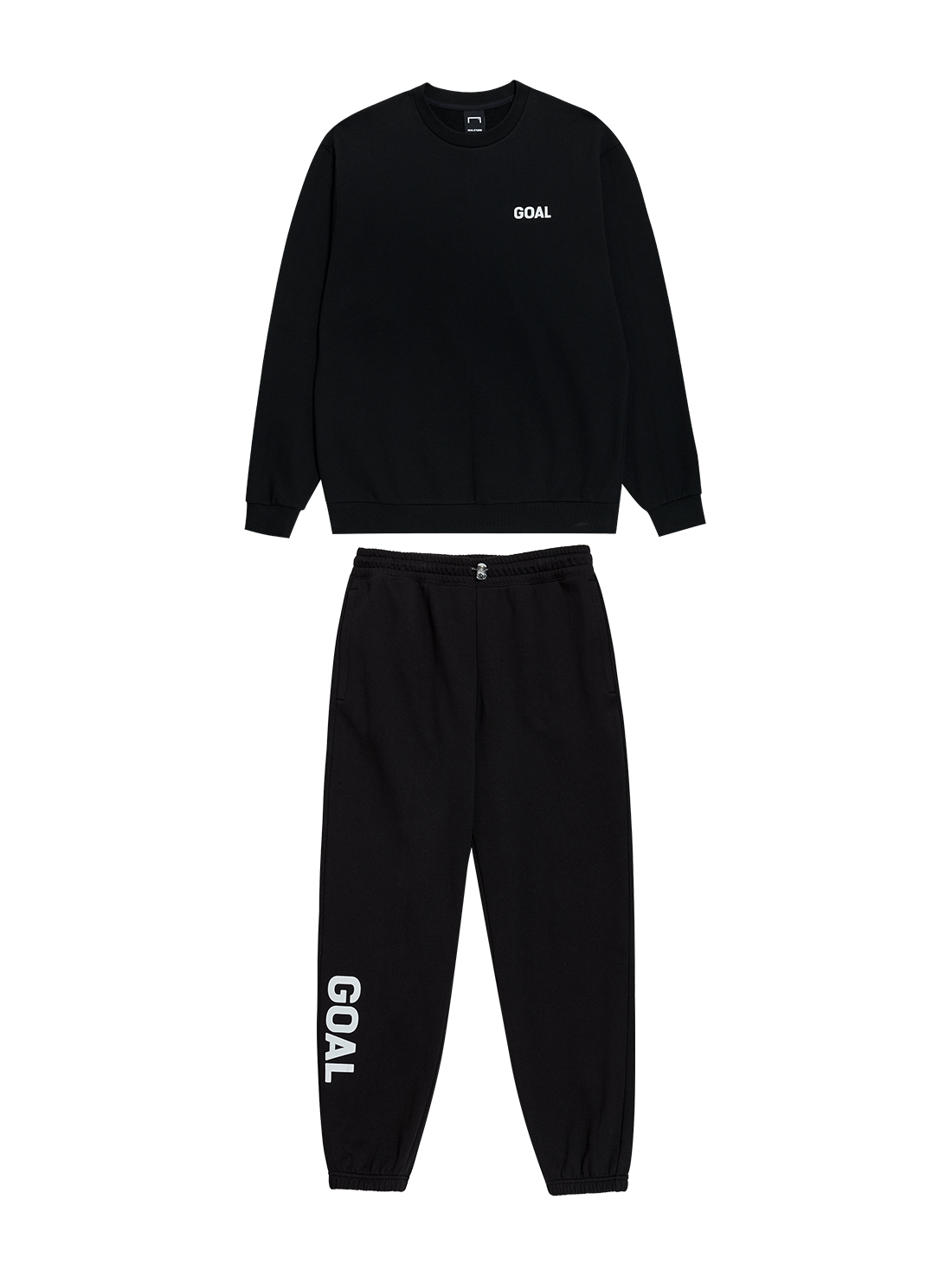 GOALSTUDIO [10% OFF] FLOCKING SWEATSHIRT & PANTS SET - BLACK