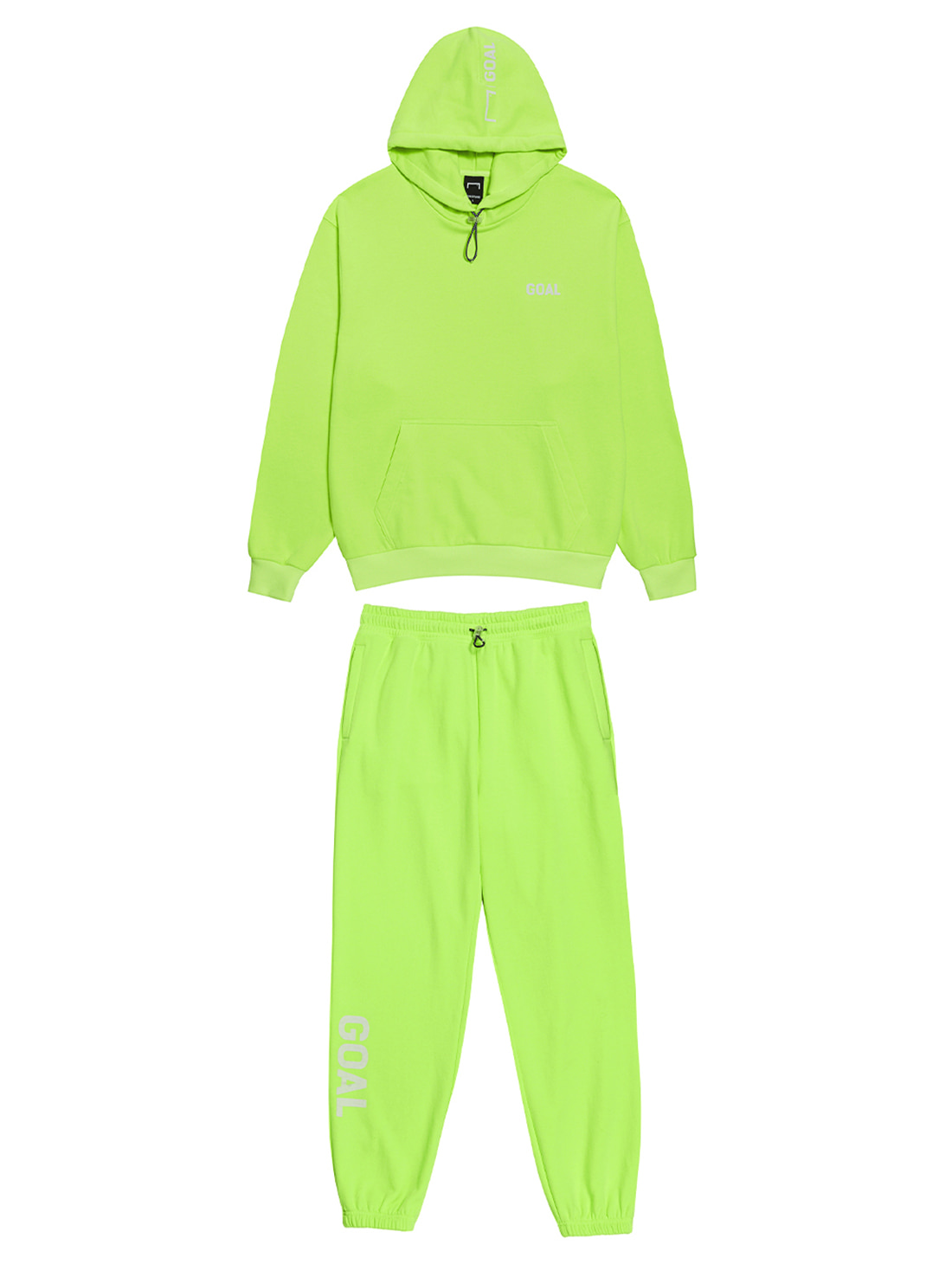 GOALSTUDIO [10% OFF] FLOCKING HOODIE & PANTS SET - LIME YELLOW