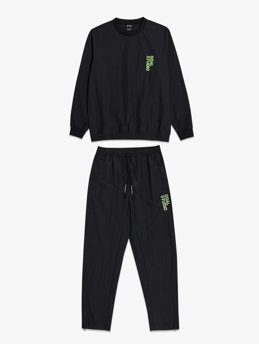 GOALSTUDIO [10% OFF] NYLON BLEND WOVEN SWEATSHIRT & WOVEN PANTS SET