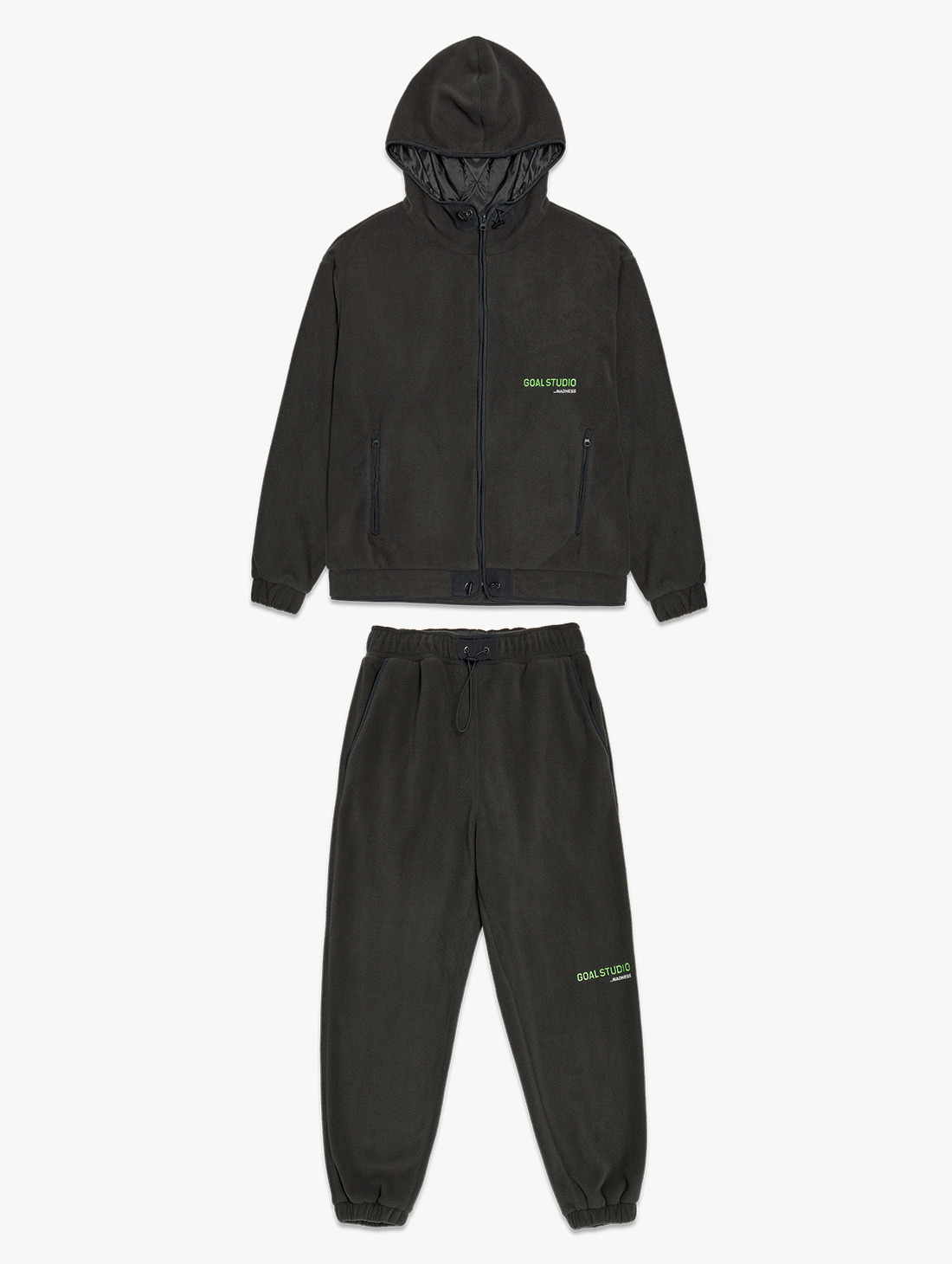 GOALSTUDIO [10% OFF] FLEECE FULL ZIP HOODED JACKET & JOGGER PANTS SET