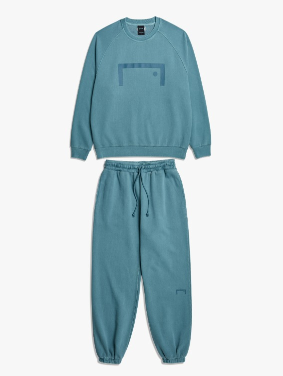GOALSTUDIO [10% OFF] PIGMENT DYE SEWATSHIRT & JOGGER PANTS SET - BLUE