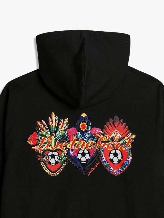 GOALSTUDIO HEART BALL GRAPHIC HOODIE - BLACK