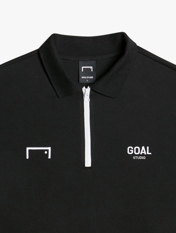 GOALSTUDIO LOGO LONG SLEEVE POLO SHIRT - BLACK